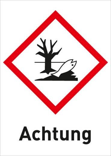 Gefahrstoffetikett Umweltgefährlich (GHS 09) mit Text: Achtung Folie selbstklebend 3009R37