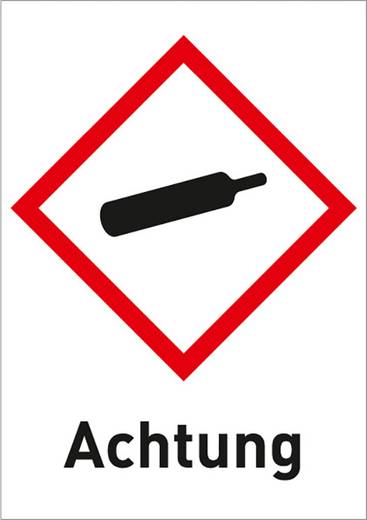 Gefahrstoffetikett Gasflasche (GHS 04) mit Text: Achtung Folie selbstklebend 3011R37