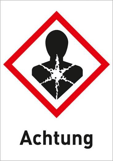 Gefahrstoffetikett Gesundheitsschädlich (GHS 08) mit Text: Achtung Folie selbstklebend 3013R37