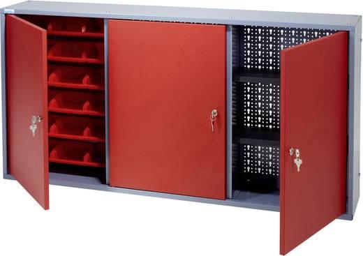 Küpper 70192 Hängeschrank 120 cm, 3 Türen, 18 Sichtboxen rot (B x H x T) 120 x 60 x 19 cm