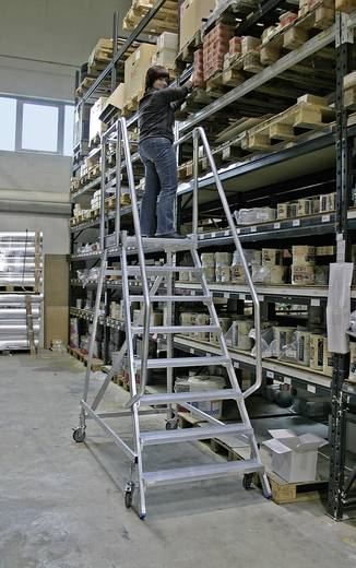 Krause 820174 Aluminium Podestleiter fahrbar Arbeitshöhe (max.): 3.65 m Silber 51.4 kg