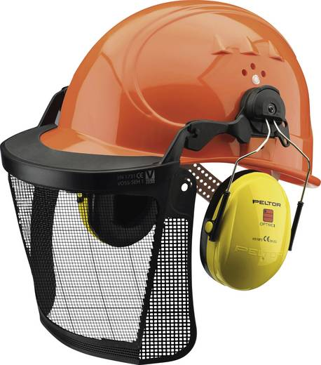 Forstschutzhelm mit Drahtgitter und Gehörschutz nach DIN 397, FPA anerkannt, Gitter EN 1731, Gehörschutz EN 352 Orange 2