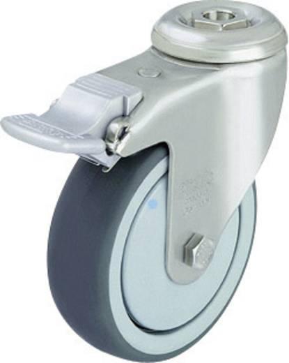Blickle 574624 Edelstahl-Apparate-Lenkrolle Feststeller mit Rückenloch Ø 125 mm Kugellager