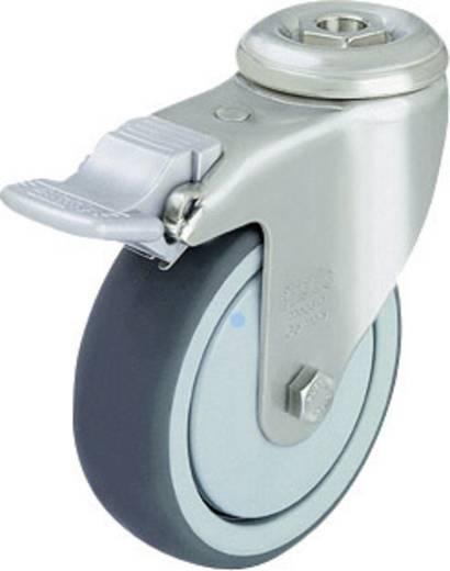 Blickle 574293 Edelstahl-Apparate-Lenkrolle Feststeller mit Rückenloch Ø 80 mm Gleitlager
