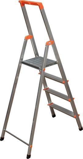 Aluminium Stufen-Stehleiter Arbeitshöhe (max.): 2.85 m Krause 4 steg 126221 Silber 3.7 kg