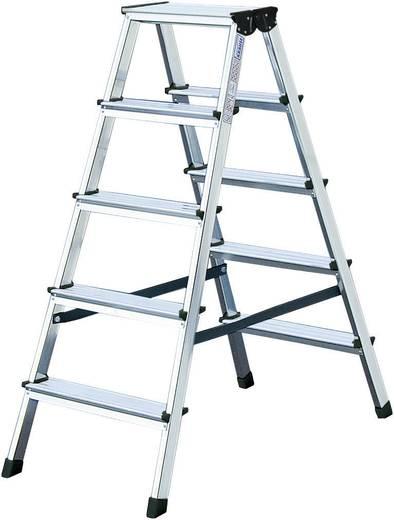 Aluminium Stufen-Doppelleiter Arbeitshöhe (max.): 2.40 m Krause 2x4 steg 120335 Silber 2.5 kg