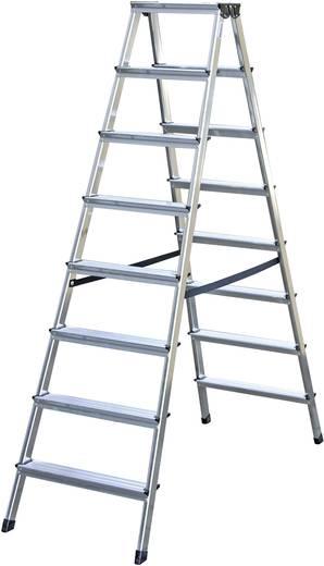 Aluminium Stufen-Doppelleiter Arbeitshöhe (max.): 3.30 m Krause 2x8 steg 120373 Silber 8 kg