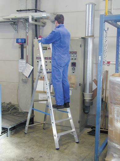 Aluminium Stufen-Stehleiter Arbeitshöhe (max.): 2.95 m Krause 124517 Silber 6.4 kg