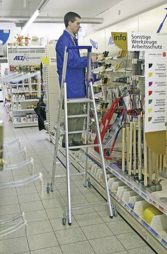 Krause 124609 Aluminium Stufen-Stehleiter fahrbar Arbeitshöhe (max.): 2.70 m Silber 7.7 kg