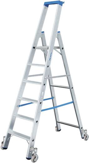 Aluminium Stufen-Stehleiter fahrbar Arbeitshöhe (max.): 2.70 m Krause 124609 Silber 7.7 kg