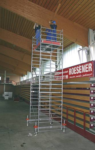 Aluminium Gerüst fahrbar Arbeitshöhe (max.): 11.40 m Krause STABILO Professional Serie 500 745125 Silber 387 kg