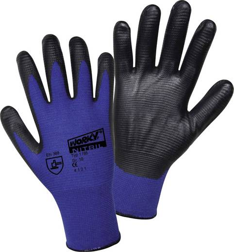 Nylon Arbeitshandschuh Größe (Handschuhe): 9, L EN 388 CAT II L+D worky Nylon Super Grip Nitrile 1165 1 Paar