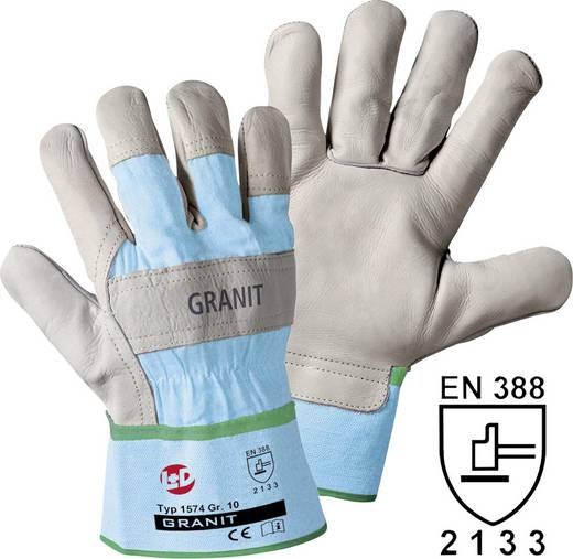 Rindnarbenleder Arbeitshandschuh Größe (Handschuhe): 8, M EN 388 CAT II Leipold + Döhle Granit 1574 1 Paar