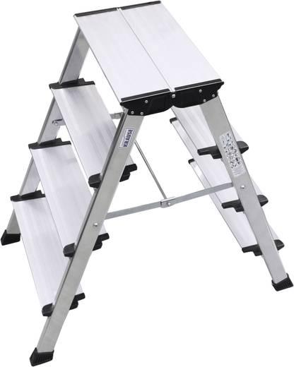 Aluminium Doppel-Klapptritt klappbar Arbeitshöhe (max.): 2.85 m Krause MONTO Treppo 126047 Silber 5.50 kg