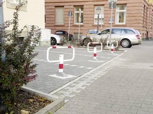 Moravia 112.14.005 SESAM-privat Kipp-Pfosten umlegbar 3 reflektierende Rotringe zum Einbetonieren Stahl, feuerverzinkt