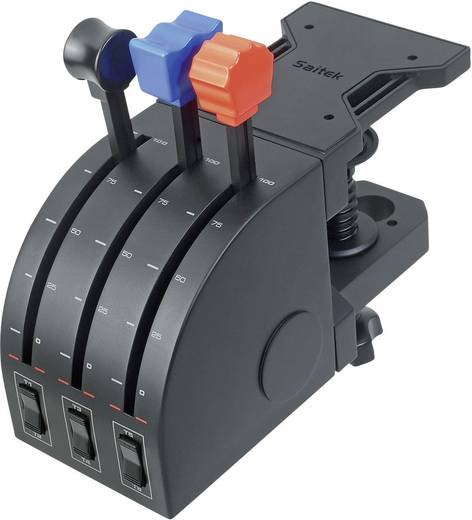 Flugsimulator-Controller Saitek Pro Flight Throttle Quadrant PZ45 USB PC Schwarz Schraubbefestigung