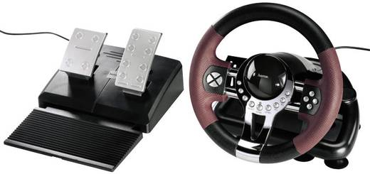Lenkrad Hama Racing Wheel Thunder V5 USB PC, PlayStation® 3 Schwarz, Rot inkl. Pedale