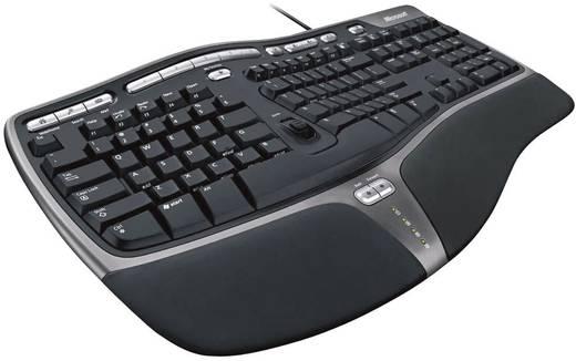 USB-Tastatur Microsoft Natural Ergonomic 4000 Schwarz Ergonomisch, Integriertes Scrollrad