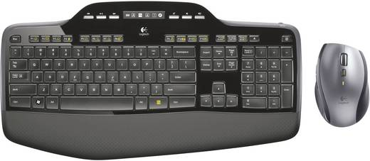 Funk-Tastatur,- Maus-Set Logitech Wireless Desktop MK-710 Schwarz