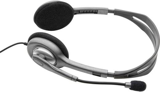 PC-Headset 3.5 mm Klinke schnurgebunden, Stereo Logitech H110 On Ear Grau