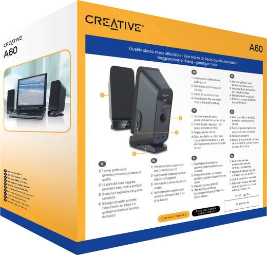 2.0 PC-Lautsprecher Kabelgebunden Creative Inspire A60 Schwarz