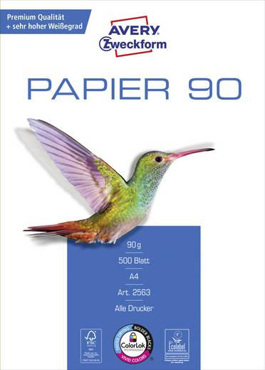 Universal Druckerpapier Avery-Zweckform PAPER Inkjet + Laser 2563 DIN A4 90 g/m² 500 Blatt Weiß