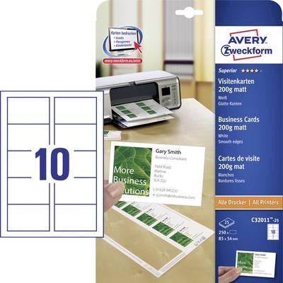 Avery Zweckform C32011 25 Bedruckbare Visitenkarten Glatte Kanten 85 X 54 Mm Weiß 250 St Papierformat Din A4