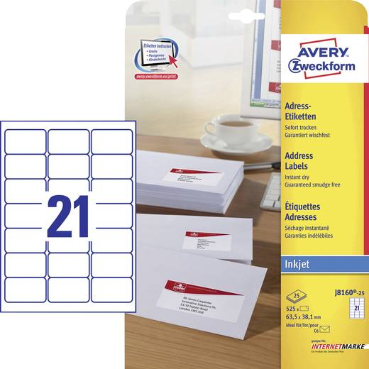 Avery-Zweckform J8160-25 Etiketten (A4) 63.5 x 38.1 mm Papier Weiß 525 St. Permanent Adress-Etiketten, Universal-Etiketten Tinte