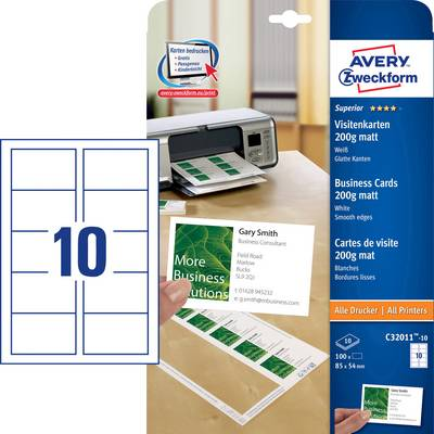Avery Zweckform C32011 10 Bedruckbare Visitenkarten Glatte Kanten 85 X 54 Mm Weiß 100 St Papierformat Din A4