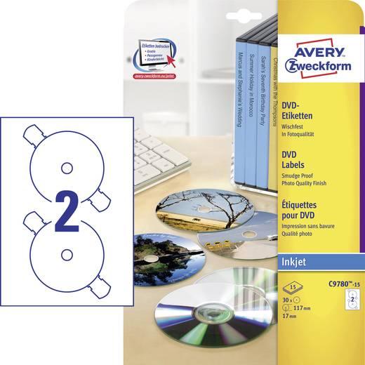 Avery-Zweckform C9780-15 Etiketten (A4) Ø 117 mm Folie Weiß 30 St. Permanent DVD-Etiketten Tinte