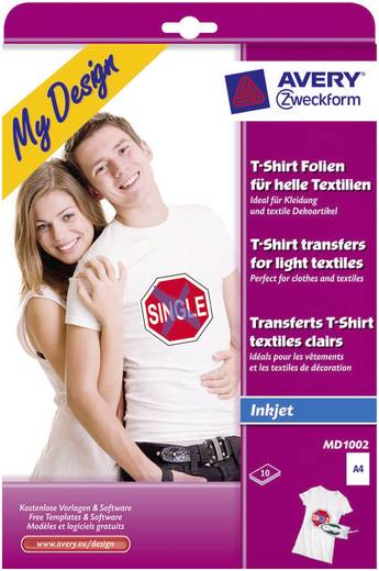 Tintenstrahl Textilfolie Avery-Zweckform My Design T-Shirt MD1002 DIN A4 für helle Textilien, Optimiert für Tintenstrahl