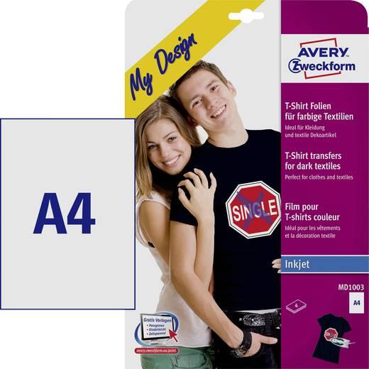 Tintenstrahl Textilfolie Avery-Zweckform My Design T-Shirt Folien MD1003 DIN A4 für farbige Textilien, Optimiert für Tintenstrahl 4 Blatt