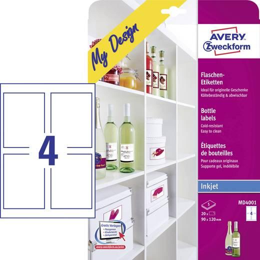Tintenstrahl Flaschenetiketten Avery-Zweckform My Design Flaschenetiketten MD4001 90 x 120 mm Permanent 20 St.