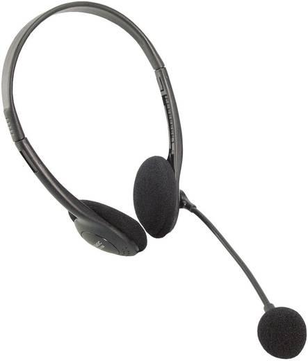 PC-Headset 3.5 mm Klinke schnurgebunden, Stereo LogiLink HS0002 On Ear Schwarz