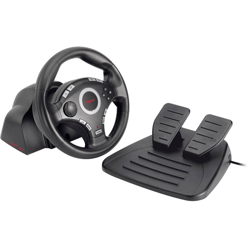 volant avec p dale trust gxt 27 force vibration steering pour pc playstation 3 sur le site. Black Bedroom Furniture Sets. Home Design Ideas