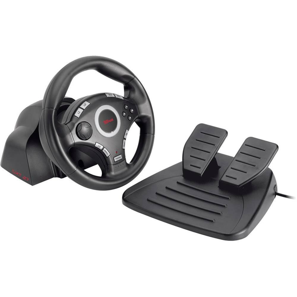 volant avec p dale trust gxt 27 force vibration steering pour pc playstation 3. Black Bedroom Furniture Sets. Home Design Ideas