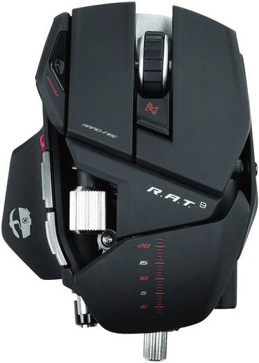 Funk-Gaming-Maus Laser MadCatz Cyborg R.A.T.9 Gewichts-Tuning, Anpassbare Länge Schwarz