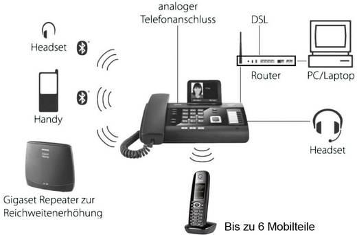 Schnurgebundenes Telefon, analog Gigaset DL500A Anrufbeantworter Farbdisplay Schwarz