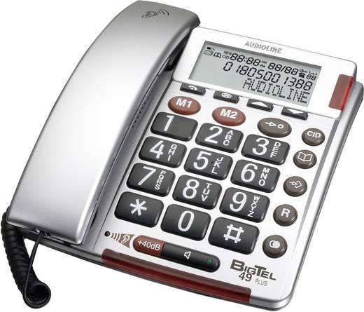 Schnurgebundenes Seniorentelefon Audioline BigTEL 49 plus Optische Anrufsignalisierung Beleuchtetes Display Silber, Grau