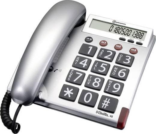 Schnurgebundenes Seniorentelefon Amplicomms BigTel 48 Optische Anrufsignalisierung Matt Silber, Grau