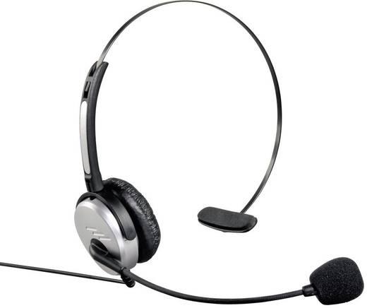Telefon-Headset 2.5 mm Klinke schnurgebunden, Mono Hama 40625 On Ear Silber, Schwarz