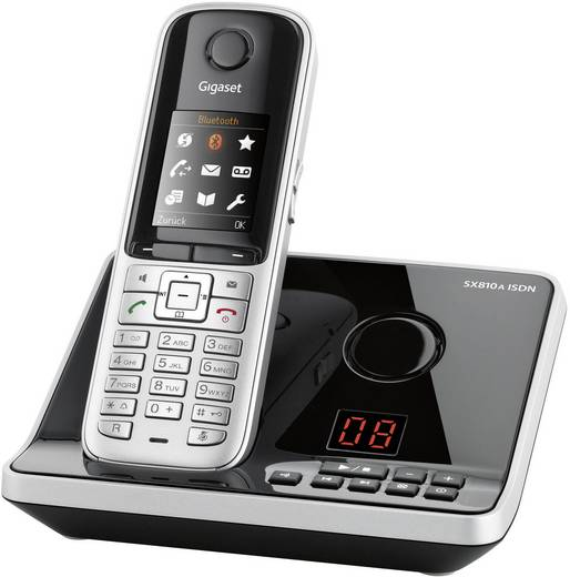 Schnurloses Telefon ISDN Gigaset SX810A RNIS Headsetanschluss, Bluetooth, Freisprechen Farbdisplay Schwarz, Silber