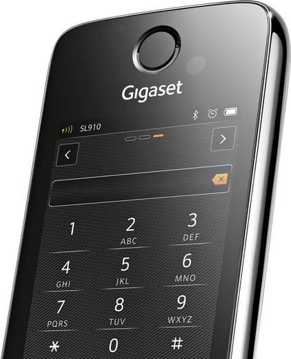 Schnurloses Telefon analog Gigaset SL910A Duo Anrufbeantworter, Headsetanschluss, Bluetooth, Babyphone Edelstahl, Schwar