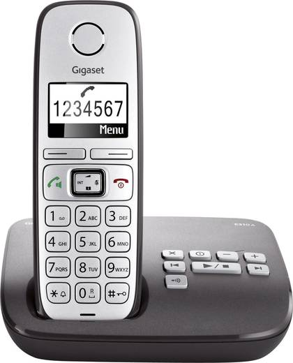 Gigaset E310A Schnurloses Seniorentelefon Anrufbeantworter Beleuchtetes Display Silber, Anthrazit