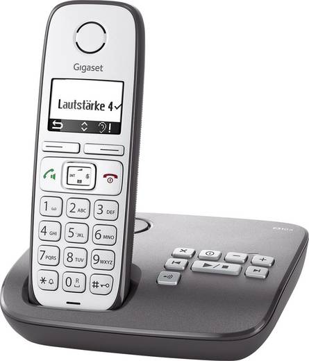 Schnurloses Seniorentelefon Gigaset E310A Anrufbeantworter Beleuchtetes Display Silber, Anthrazit