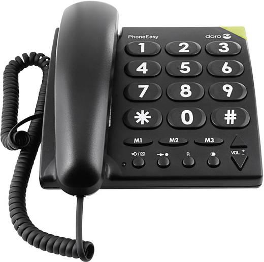 Schnurgebundenes Seniorentelefon doro PhoneEasy 311c Optische Anrufsignalisierung, Freisprechen kein Display Schwarz