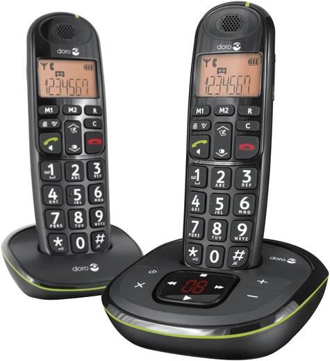 Schnurloses Seniorentelefon doro PhoneEasy 105wr Duo Noir Optische Anrufsignalisierung, Anrufbeantworter Beleuchtetes Di