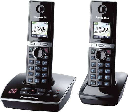 Panasonic KX-TG8062 Duo Schnurloses Telefon analog Anrufbeantworter, Headsetanschluss Schwarz, Silber