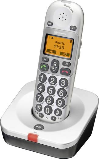 Schnurloses Seniorentelefon Amplicomms BigTel 200 Optische Anrufsignalisierung Beleuchtetes Display Silber, Schwarz