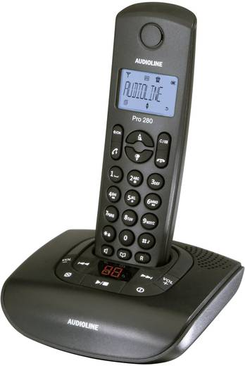 Schnurloses Telefon analog Audioline Pro 280 Anrufbeantworter Schwarz